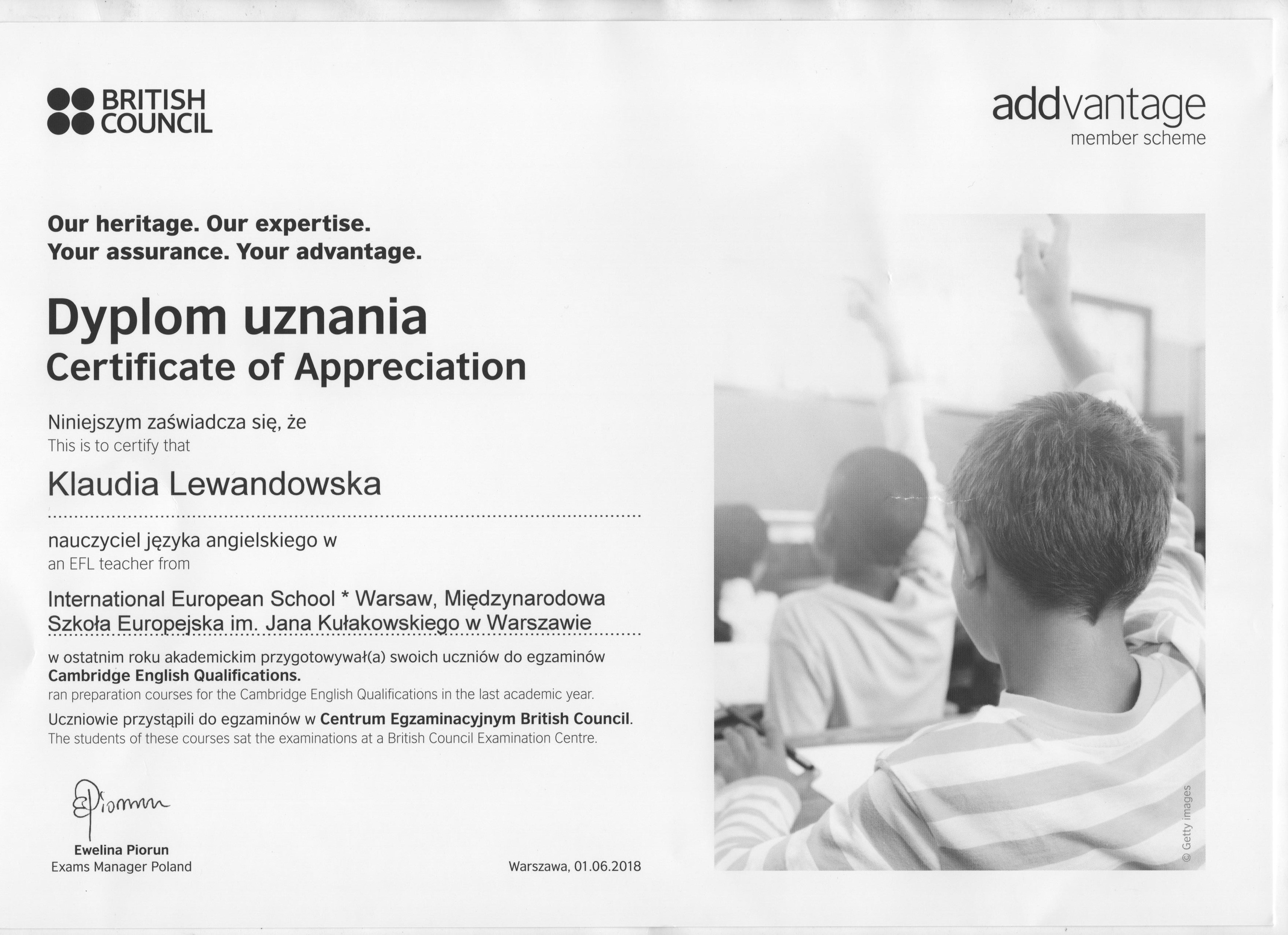 Certyfikat British Council Klaudia Lewandowska, angielski dla firm Warszawa.
